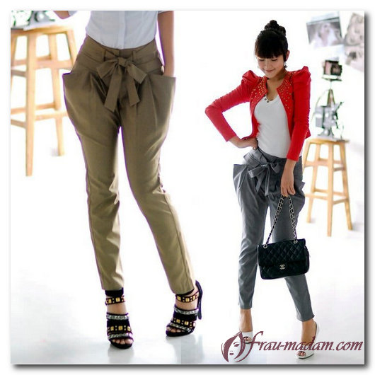 брюки с бантом на поясе
