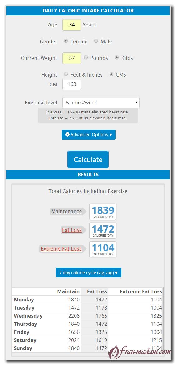 скриншот калькулятора калорий онлайн