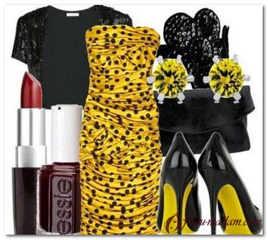 желтое платье в черный горошек