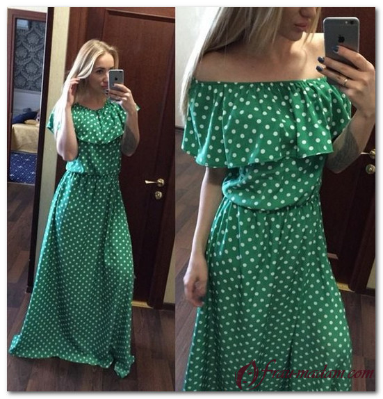 зеленое платье в черный горошек