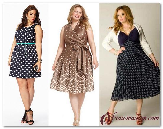 платье в горох для полных женщин