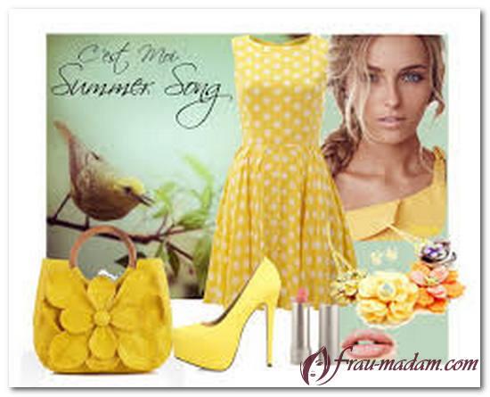 желтое платье в горох