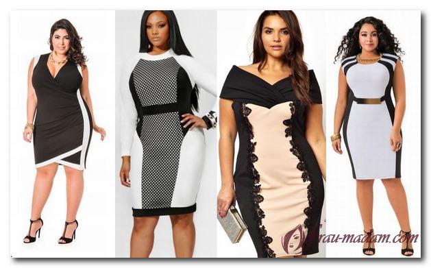 платье со вставками для полных женщин с фигурой яблоко
