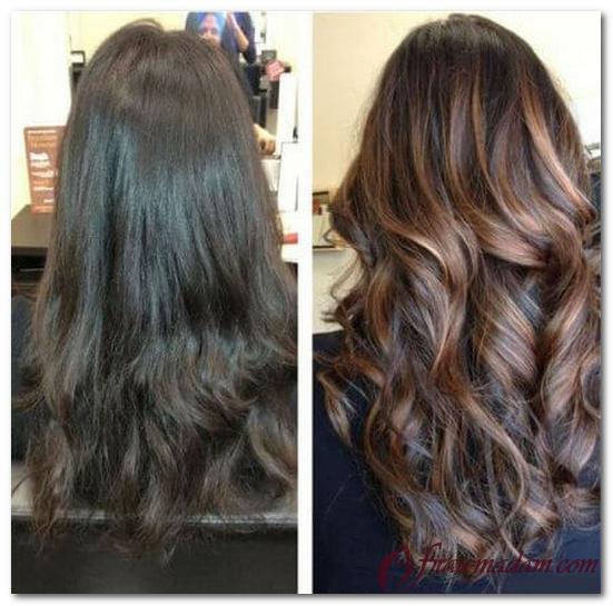 покраска волос балаяж фото на темные волосы