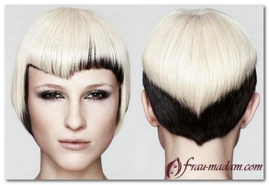 окраска коротких волос в два цвета фото