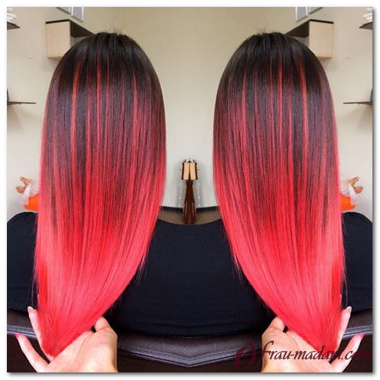 Фото покраски волос двумя цветами красный и черный