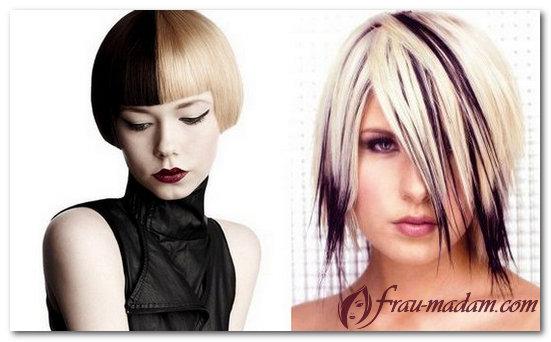 двухцветное окрашивание волос фото