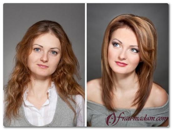 стрижки и покраска на средние волосы фото