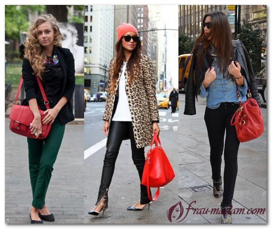 красивое сочетание красной сумки и одежды