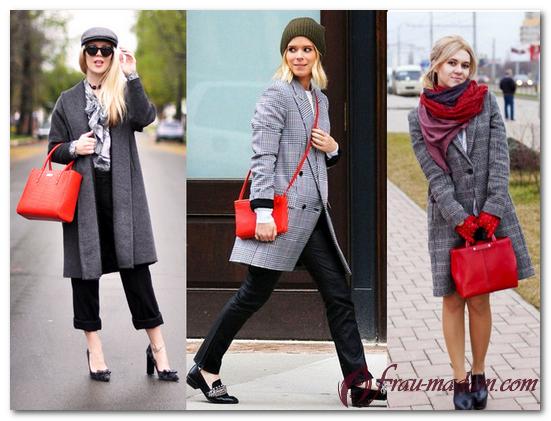 серое пальто и красная сумка