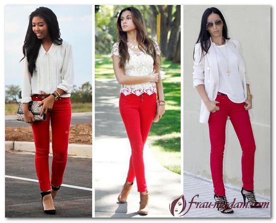 с чем носить красные брюки летом