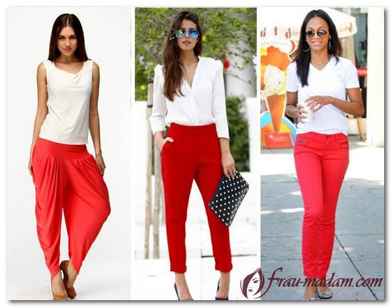 красные брюки фото женские
