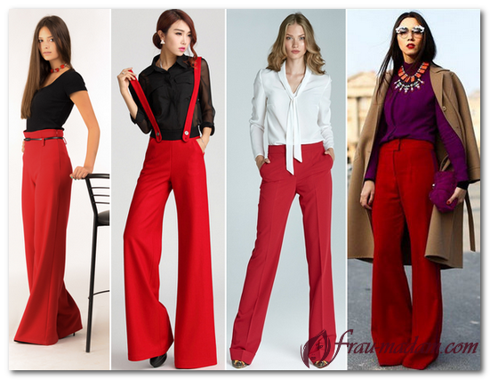 красные штаны с чем носить