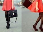 С какими колготками носить красное платье и черные туфли