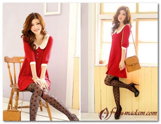 красное платье с черными колготками фото