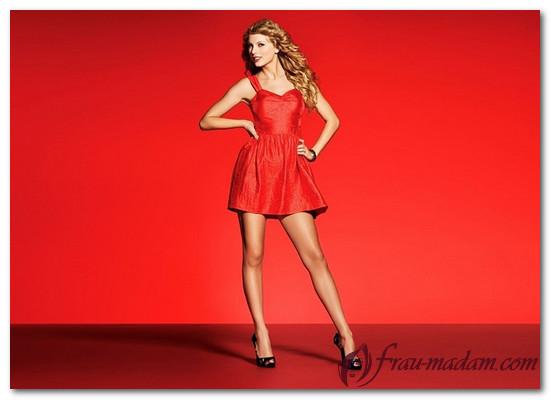 какие колготки одеть с красным платьем