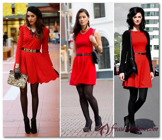 колготки под красное платье