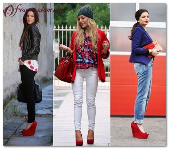 красные туфли с черными колготками