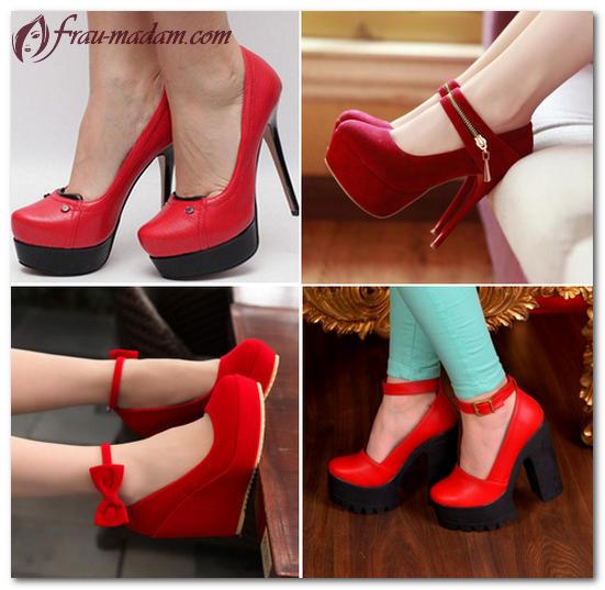 с чем носить красные туфли лодочки