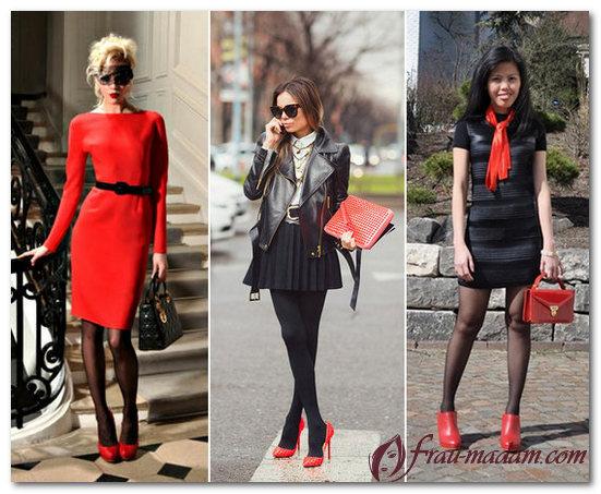 с какими колготками носить красные туфли