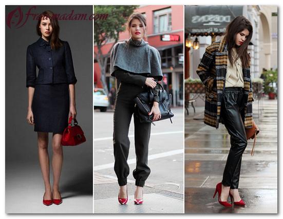 с чем можно носить красные туфли