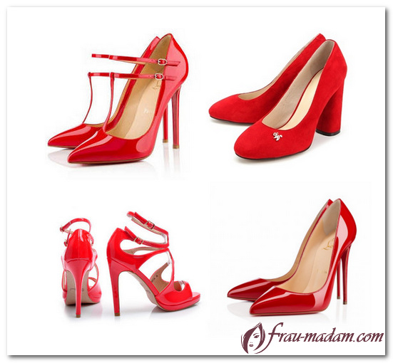 с чем носить красные туфли
