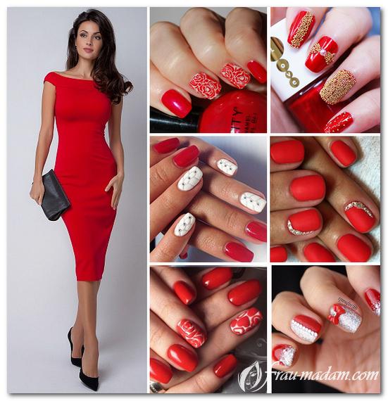 маникюр к красному платью фото