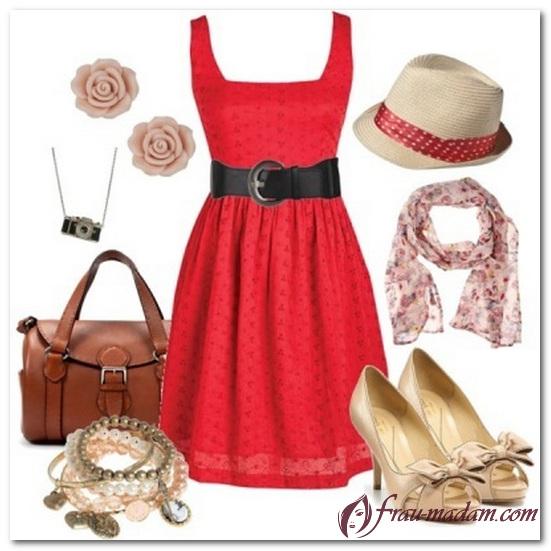 бижутерия к красному платью