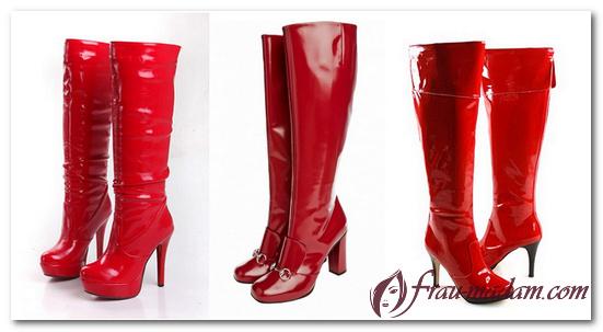 женские зимние красные сапоги