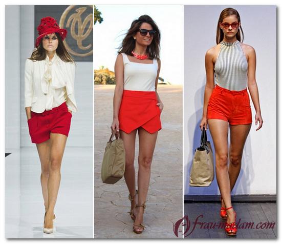 красные шорты женские