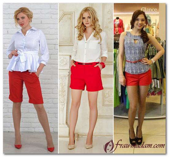красные шорты с чем носить