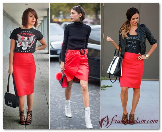 Черные колготки и красная юбка карандаш
