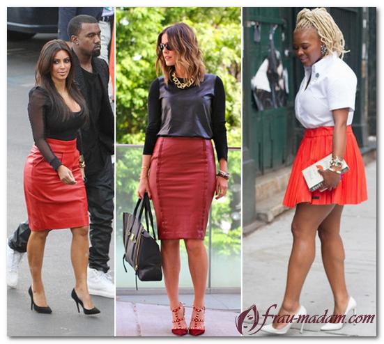 красная юбка с чем носить фото