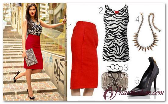 красная юбка с блузкой