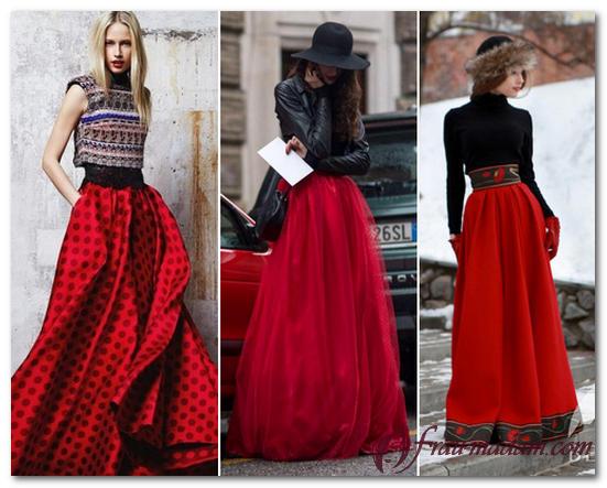 красная длинная юбка фото