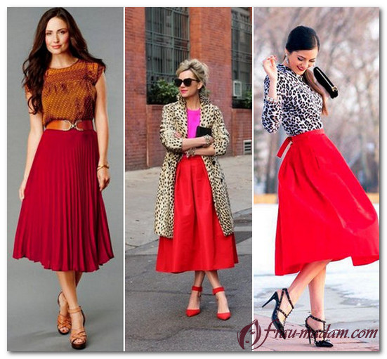 Красная юбка: с чем носить Фото