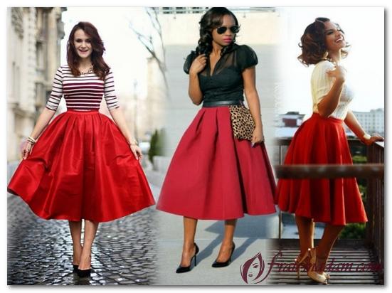 27c666e6fcd Красная юбка  с чем носить модели карандаш