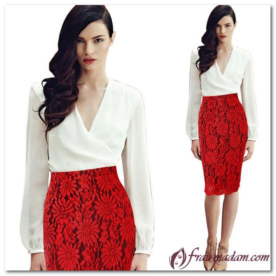красная юбка с кружевом