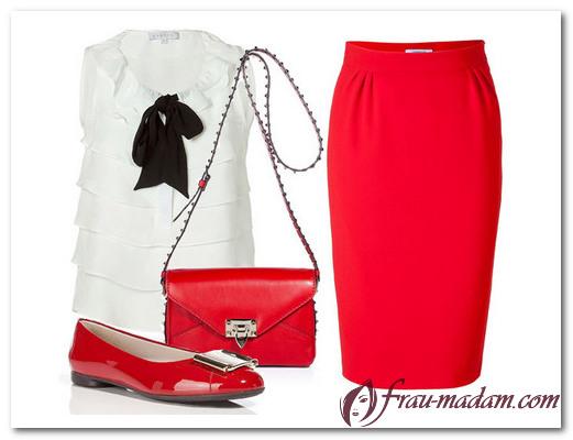 С чем носить красную юбку: фото образов