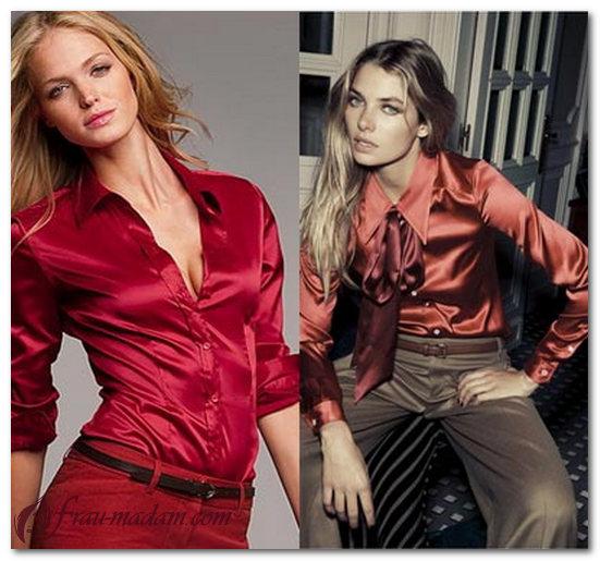 красная шелковая блузка с чем носить