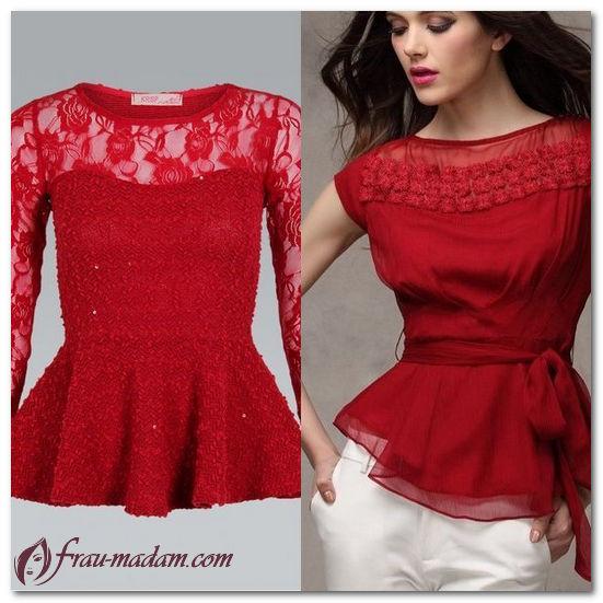 красная кружевная блузка