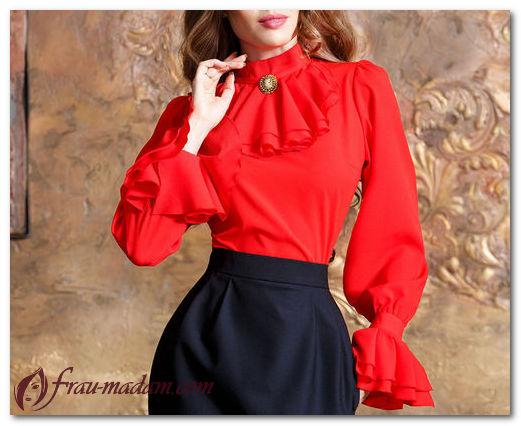 Красные блузки (шелковые, в горох, с баской и другие): как носить, фото образов