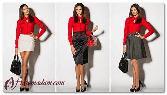 красная женская блузка