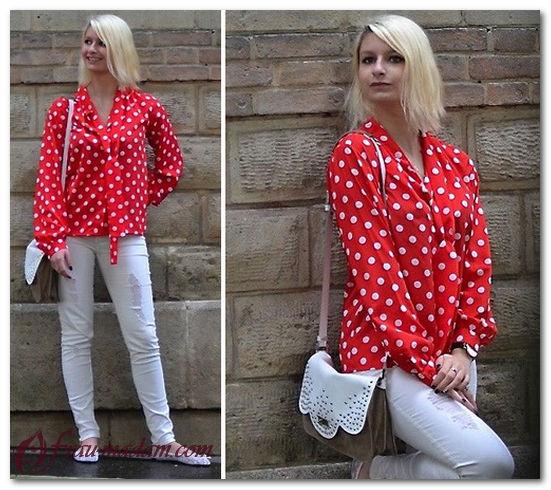 красная шелковая блузка