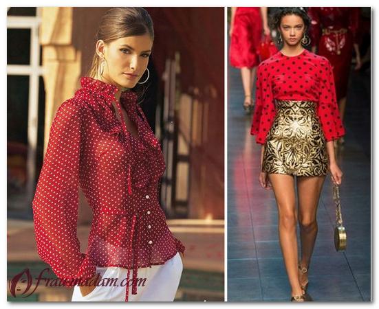 зеленая юбка красная блузка