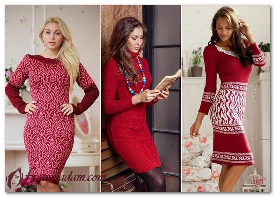 красное теплое платье