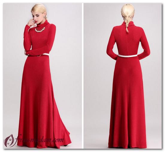 красное трикотажное платье фото