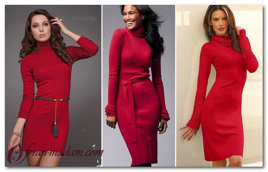 Фото красных платьев из трикотажа