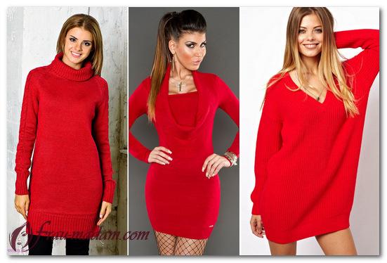 красное вязаное платье спицами