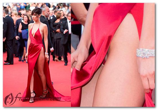 Белла Хадид в красном платье